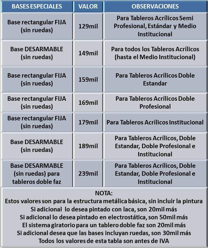 Bases Para Tableros Acrilicos Precios Bogotá